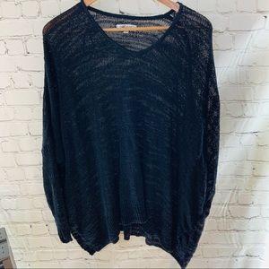 Jennifer Lopez black Sheer sweater Large